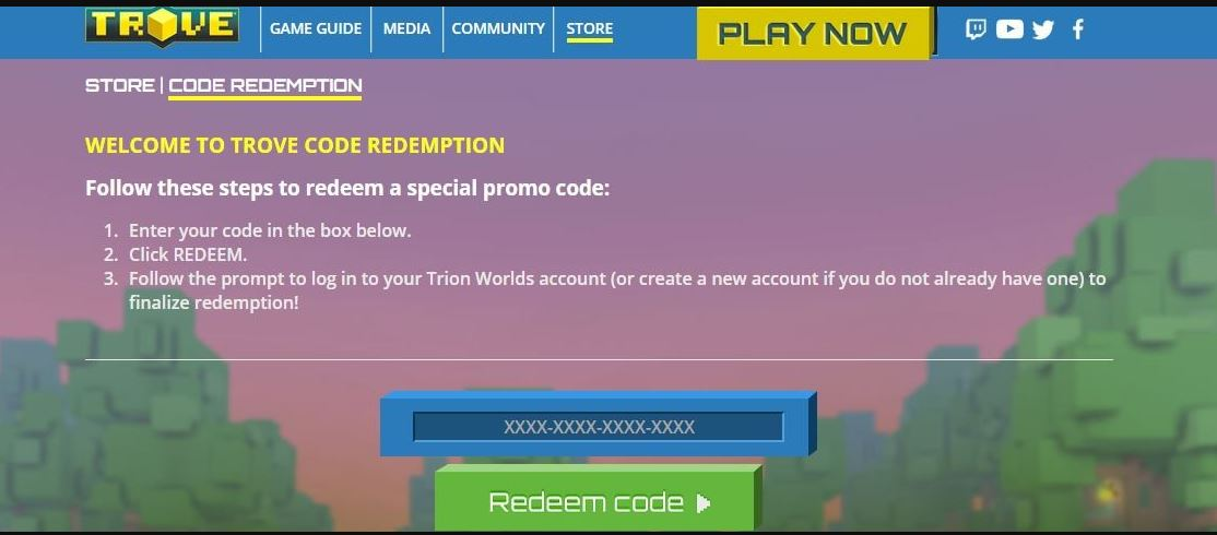 All Trove Codes Available here