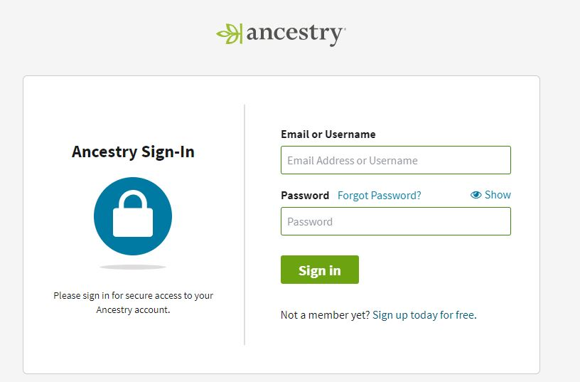Ancestry Sign-In