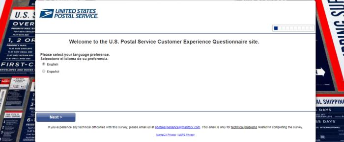 ostalExperience survey at www.postalexperience.com/pos