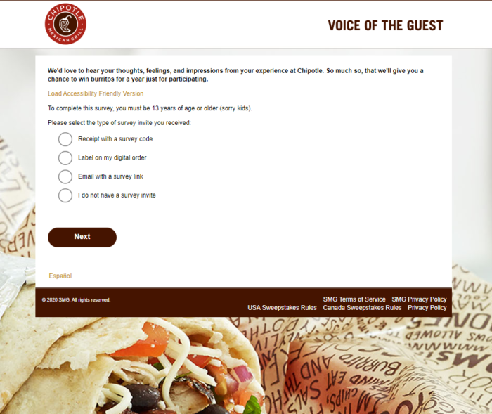 ChipotleFeedback – Win $520 Burrito Bucks – Survey Rewards
